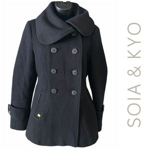 Soia & Kyo Double Breasted Wool Pea Coat Medium